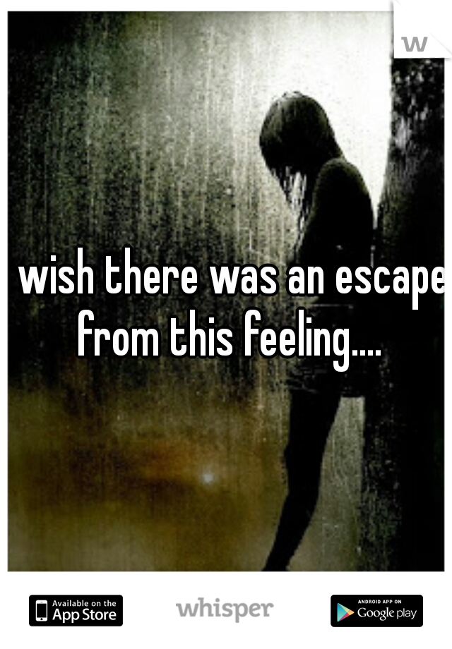 I wish there was an escape from this feeling....
