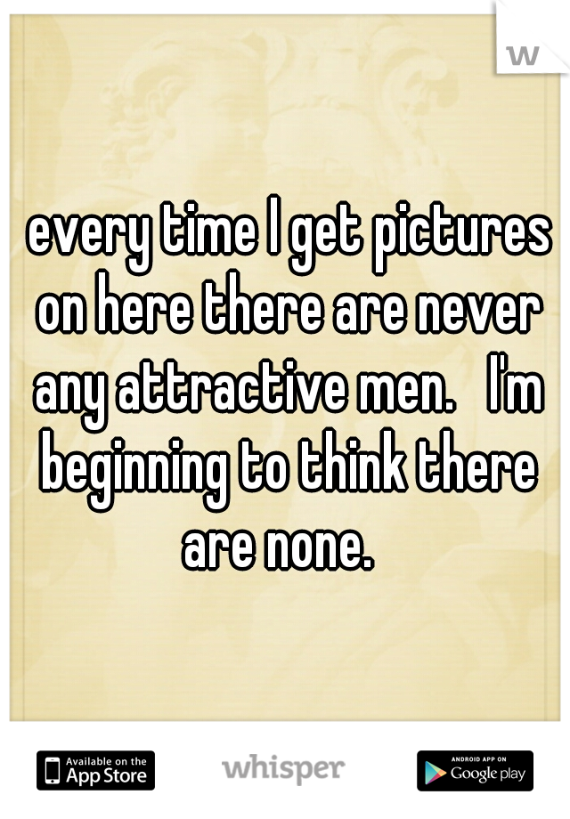 every time I get pictures on here there are never any attractive men.   I'm beginning to think there are none.