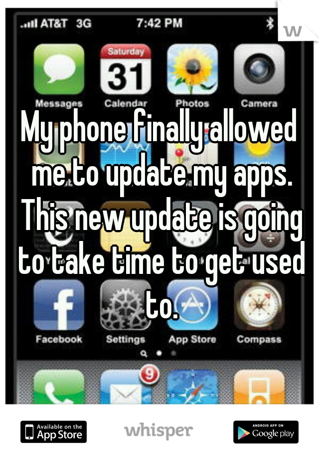 My phone finally allowed me to update my apps. This new update is going to take time to get used to.