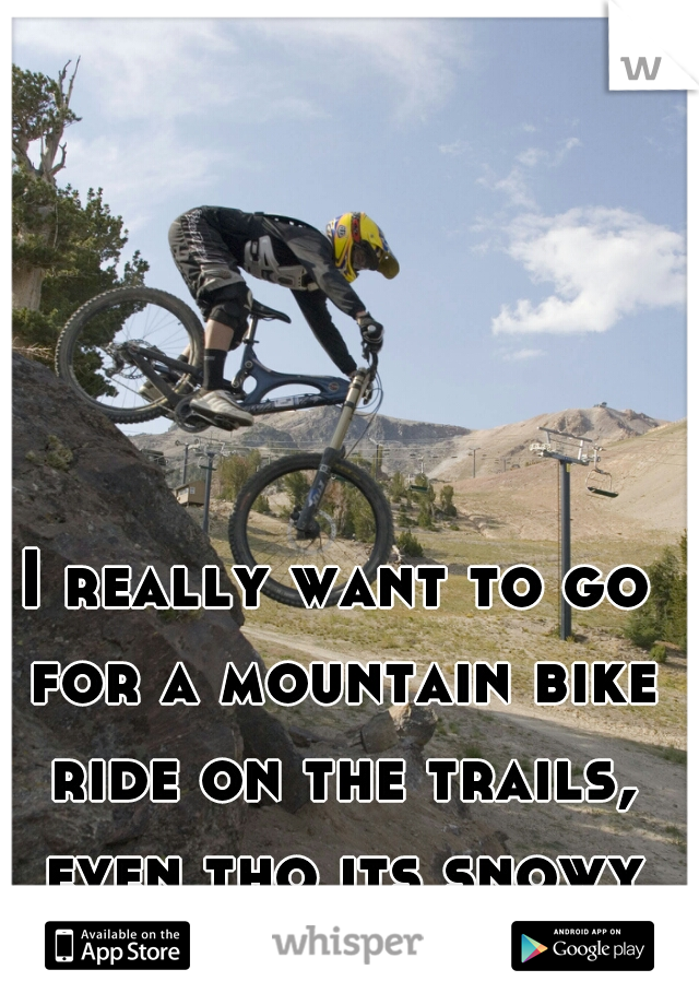 I really want to go for a mountain bike ride on the trails, even tho its snowy and icy out.