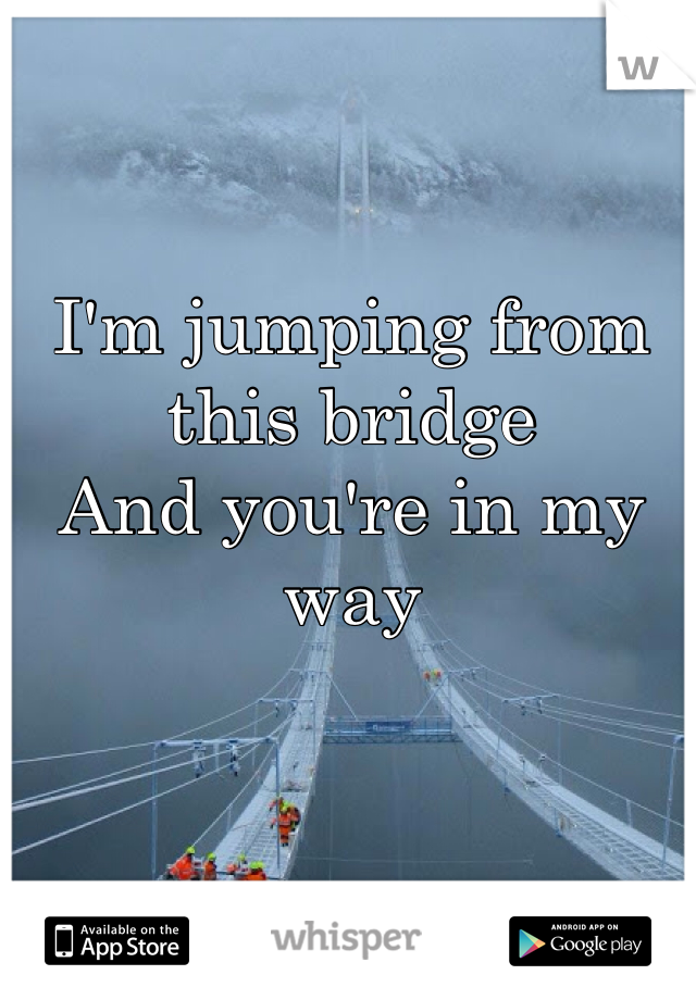 I'm jumping from this bridge And you're in my way