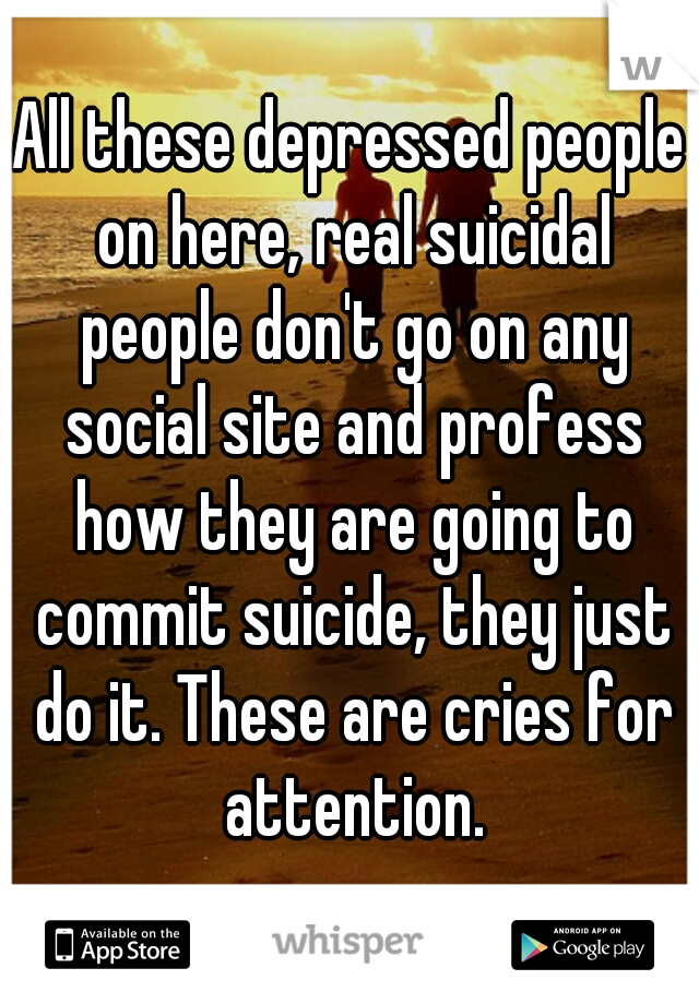 All these depressed people on here, real suicidal people don't go on any social site and profess how they are going to commit suicide, they just do it. These are cries for attention.