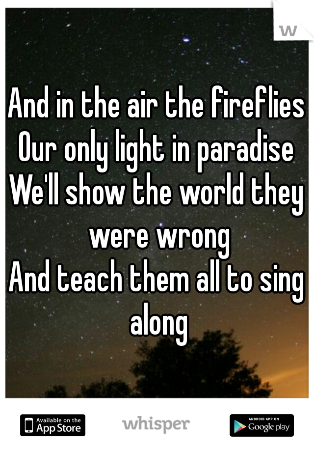 And in the air the fireflies Our only light in paradise We'll show the world they were wrong And teach them all to sing along