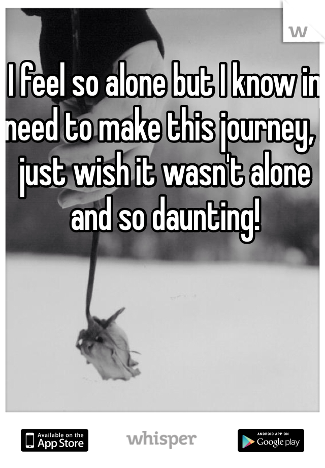 I feel so alone but I know in need to make this journey, I just wish it wasn't alone and so daunting!