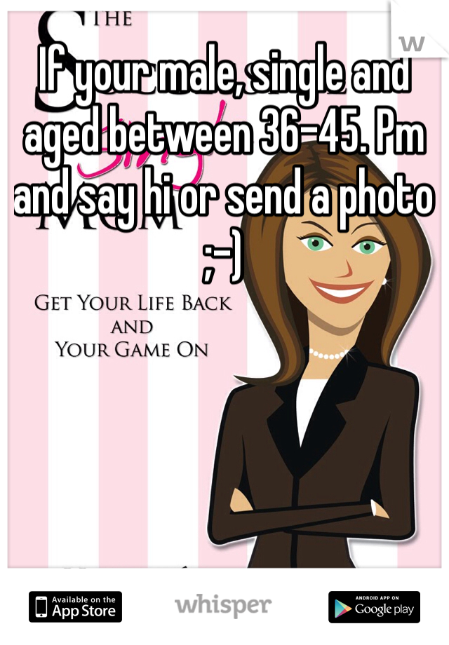 If your male, single and aged between 36-45. Pm and say hi or send a photo ;-)