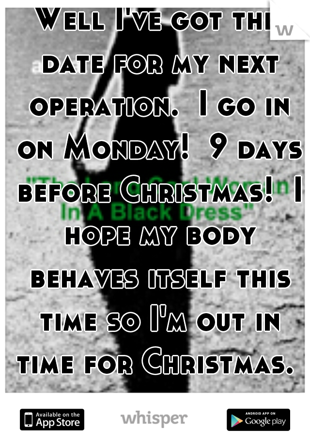 Well I've got the date for my next operation.  I go in on Monday!  9 days before Christmas!  I hope my body behaves itself this time so I'm out in time for Christmas.