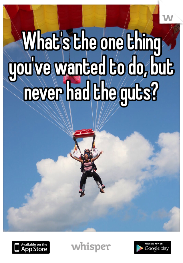 What's the one thing you've wanted to do, but never had the guts?