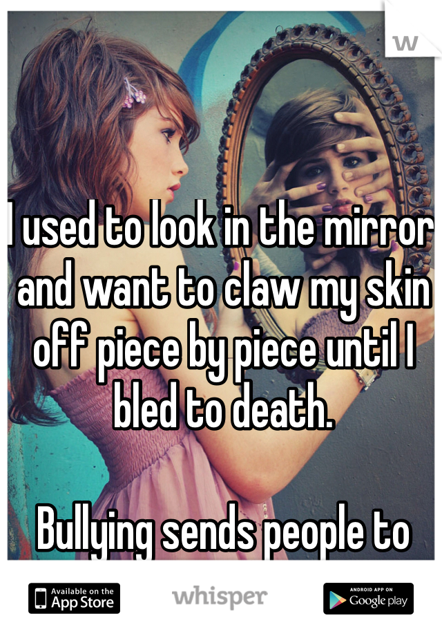 I used to look in the mirror and want to claw my skin off piece by piece until I bled to death.  Bullying sends people to dark places.