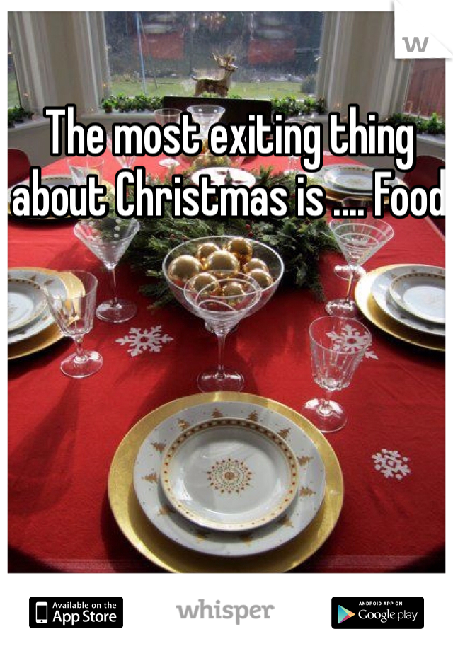 The most exiting thing about Christmas is .... Food