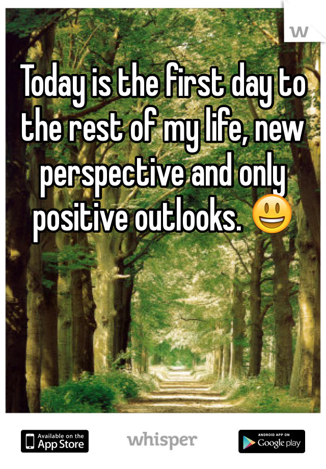 Today is the first day to the rest of my life, new perspective and only positive outlooks. 😃