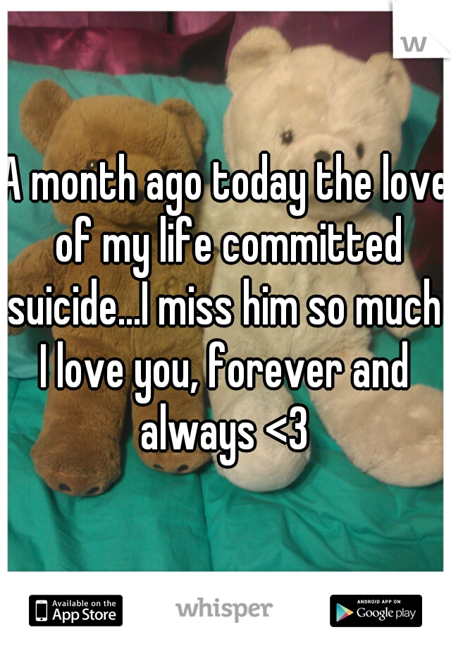 A month ago today the love of my life committed suicide...I miss him so much  I love you, forever and always <3