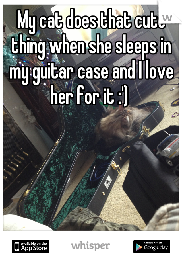 My cat does that cute thing when she sleeps in my guitar case and I love her for it :')