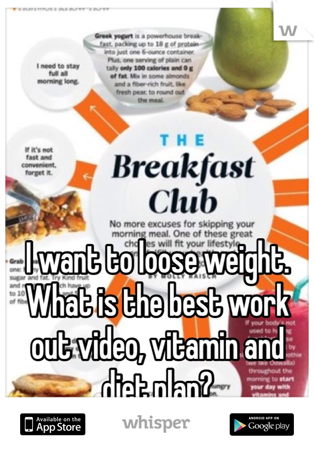 I want to loose weight. What is the best work out video, vitamin and diet plan?