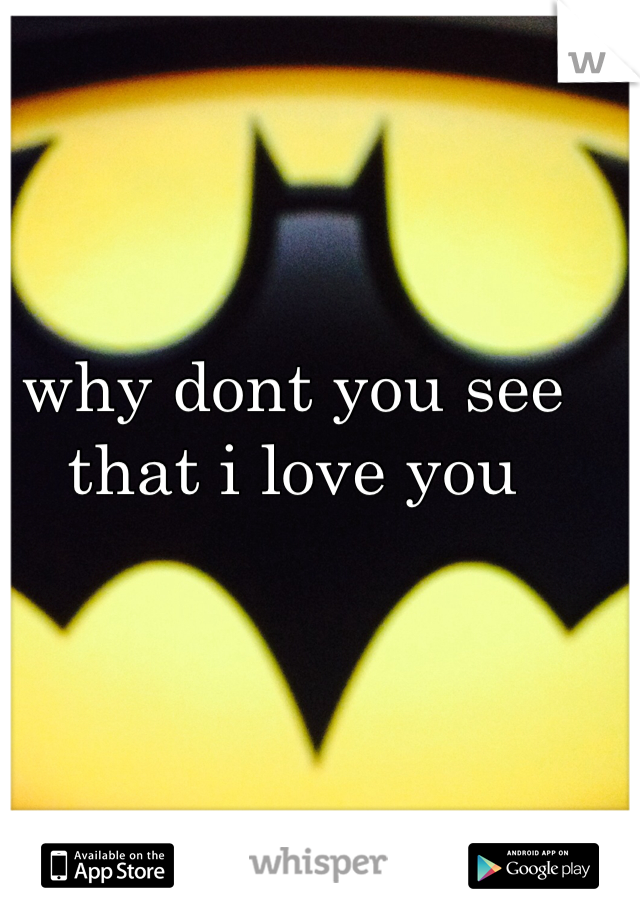 why dont you see that i love you