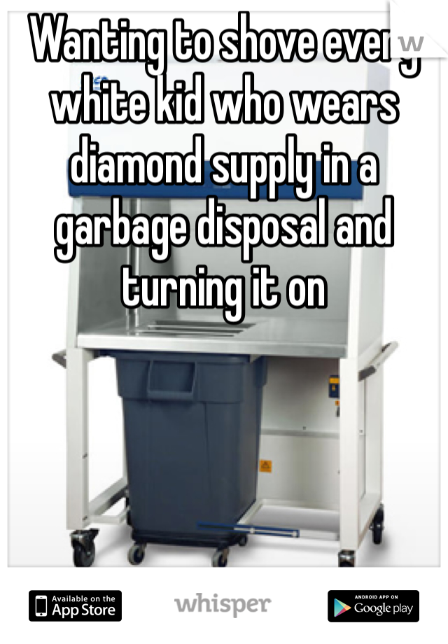 Wanting to shove every white kid who wears diamond supply in a garbage disposal and turning it on