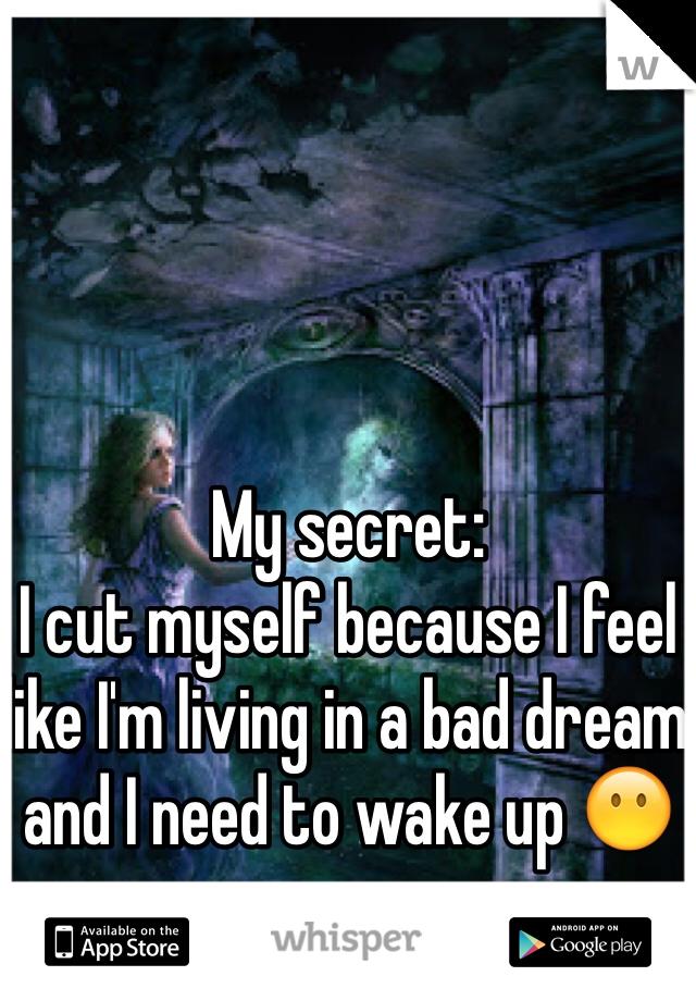 My secret:  I cut myself because I feel like I'm living in a bad dream and I need to wake up 😶