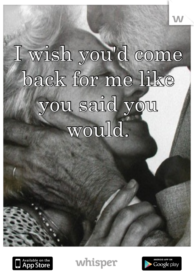 I wish you'd come back for me like you said you would.
