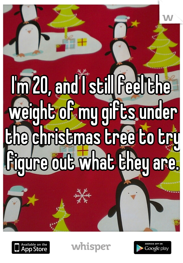 I'm 20, and I still feel the weight of my gifts under the christmas tree to try figure out what they are.