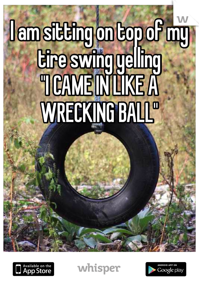 """I am sitting on top of my tire swing yelling """"I CAME IN LIKE A WRECKING BALL"""""""