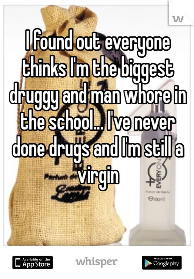 I found out everyone thinks I'm the biggest druggy and man whore in the school... I've never done drugs and I'm still a virgin