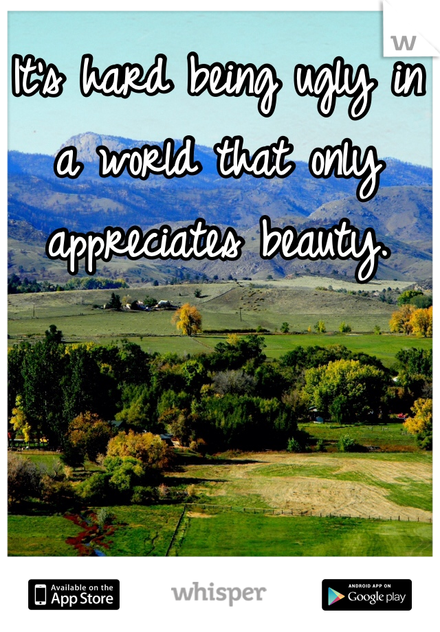 It's hard being ugly in a world that only appreciates beauty.