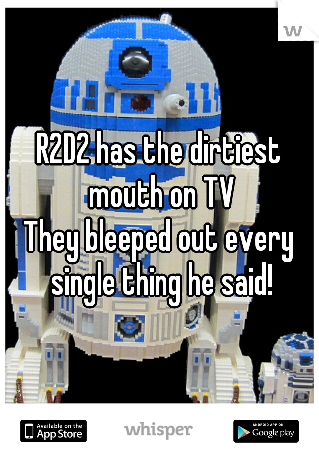 R2D2 has the dirtiest mouth on TV They bleeped out every single thing he said!