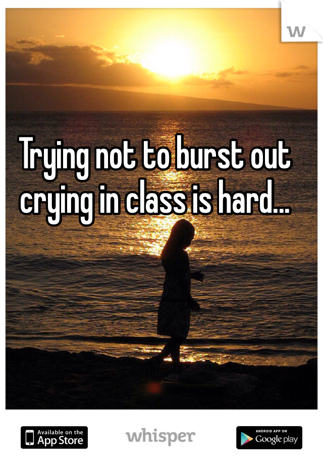 Trying not to burst out crying in class is hard...