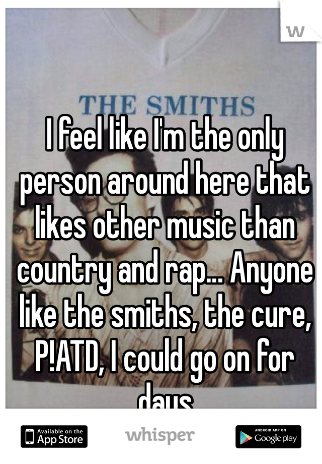 I feel like I'm the only person around here that likes other music than country and rap... Anyone like the smiths, the cure, P!ATD, I could go on for days
