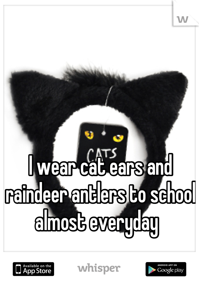 I wear cat ears and raindeer antlers to school almost everyday