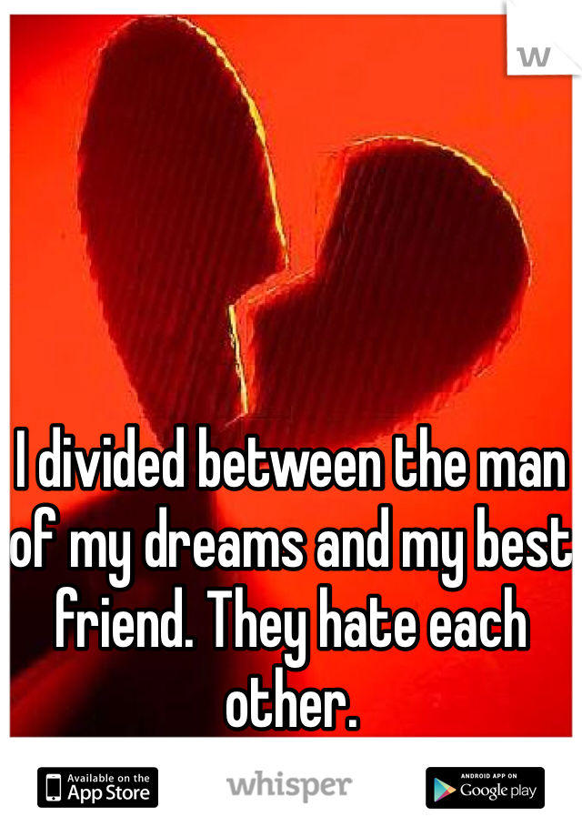 I divided between the man of my dreams and my best friend. They hate each other.