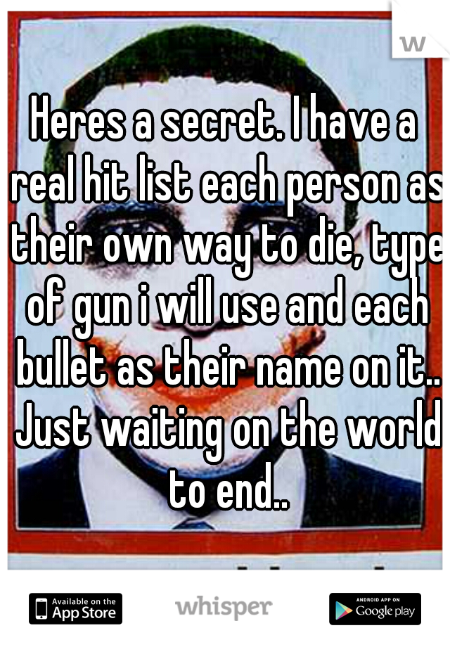 Heres a secret. I have a real hit list each person as their own way to die, type of gun i will use and each bullet as their name on it.. Just waiting on the world to end..