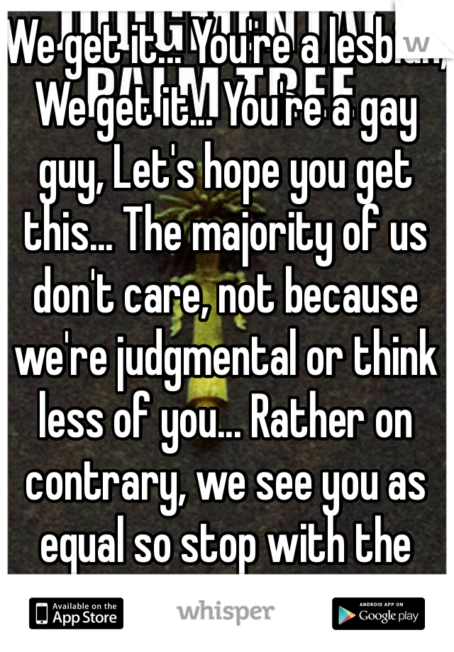 We get it... You're a lesbian, We get it... You're a gay guy, Let's hope you get this... The majority of us don't care, not because we're judgmental or think less of you... Rather on contrary, we see you as equal so stop with the lame ass posts!