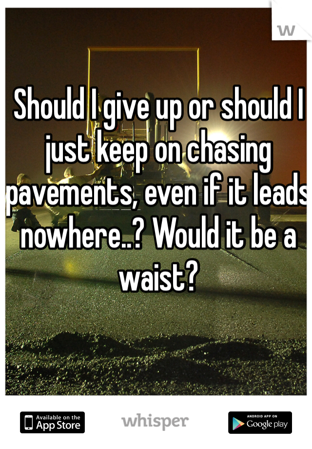 Should I give up or should I just keep on chasing pavements, even if it leads nowhere..? Would it be a waist?