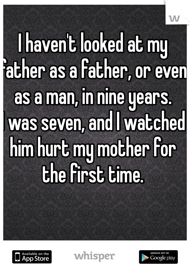 I haven't looked at my father as a father, or even as a man, in nine years.  I was seven, and I watched him hurt my mother for the first time.