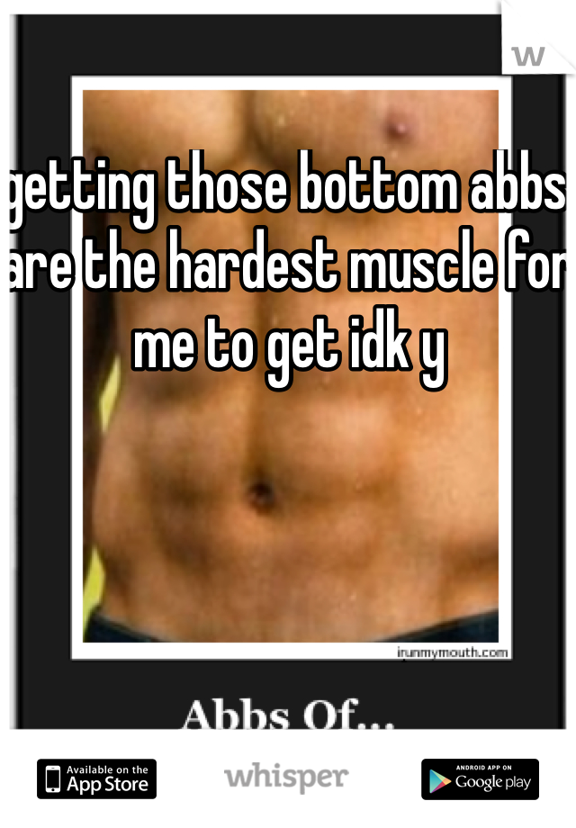 getting those bottom abbs are the hardest muscle for me to get idk y