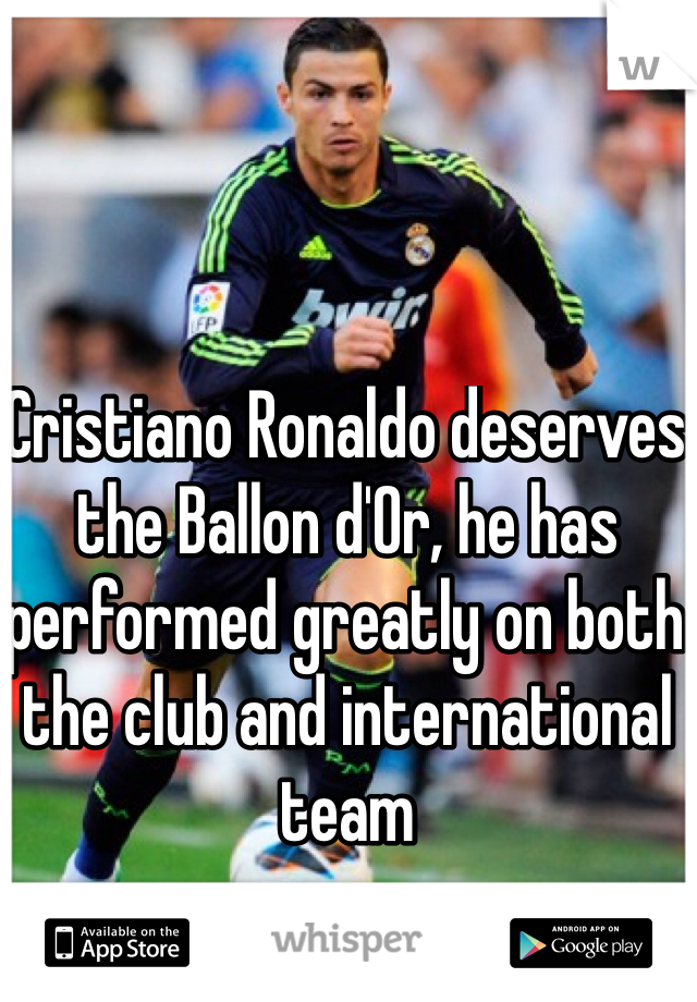 Cristiano Ronaldo deserves the Ballon d'Or, he has performed greatly on both the club and international team