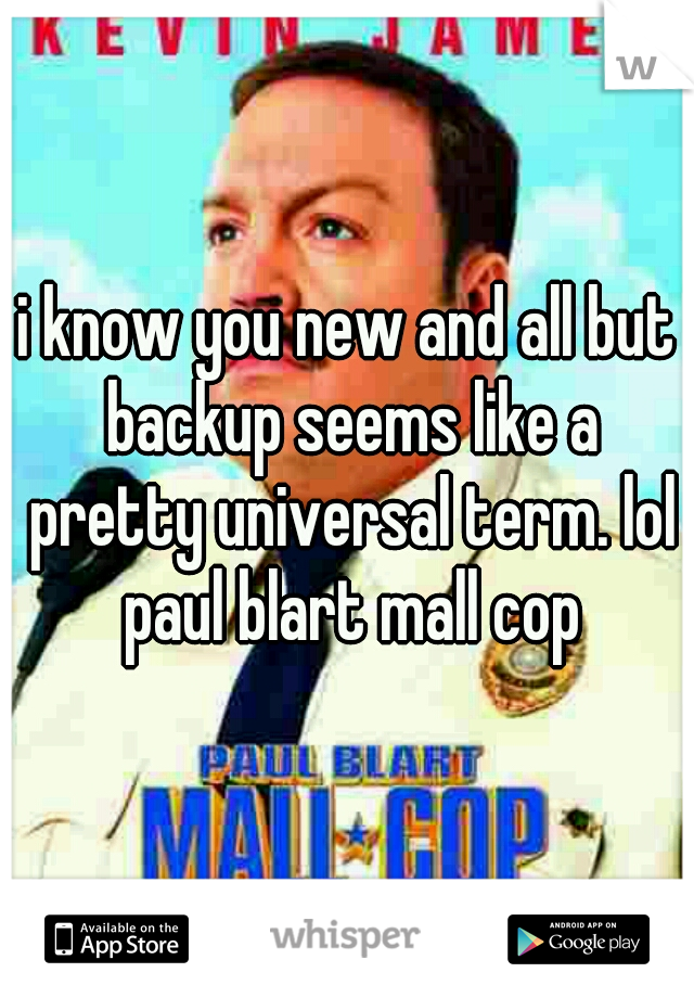 i know you new and all but backup seems like a pretty universal term. lol paul blart mall cop