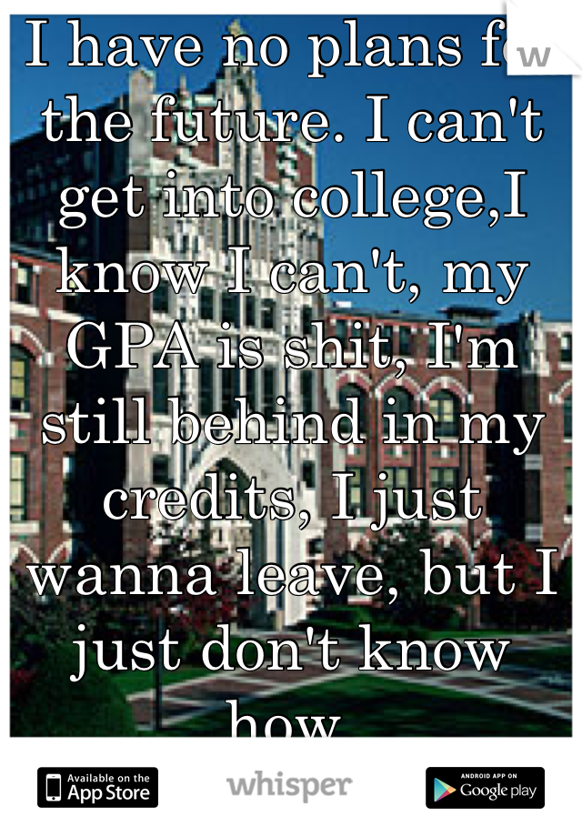 I have no plans for the future. I can't get into college,I know I can't, my GPA is shit, I'm still behind in my credits, I just wanna leave, but I just don't know how.