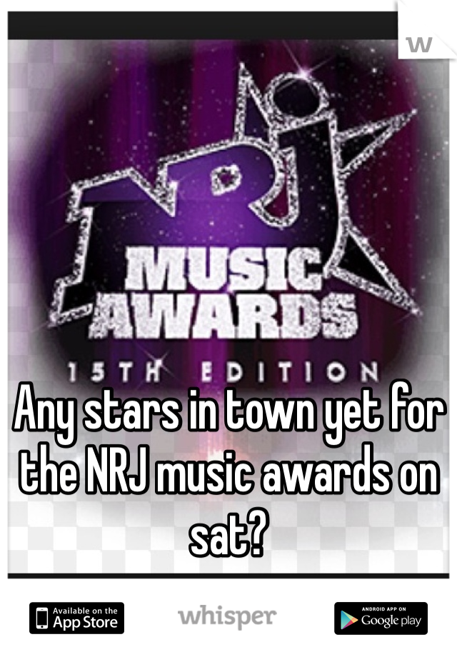 Any stars in town yet for the NRJ music awards on sat?