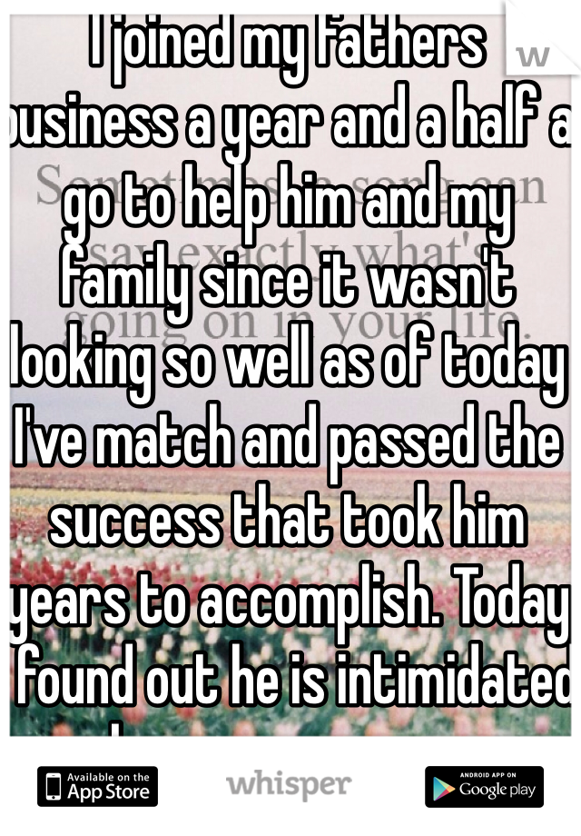 I joined my fathers business a year and a half a go to help him and my family since it wasn't looking so well as of today I've match and passed the success that took him years to accomplish. Today I found out he is intimidated by my successes