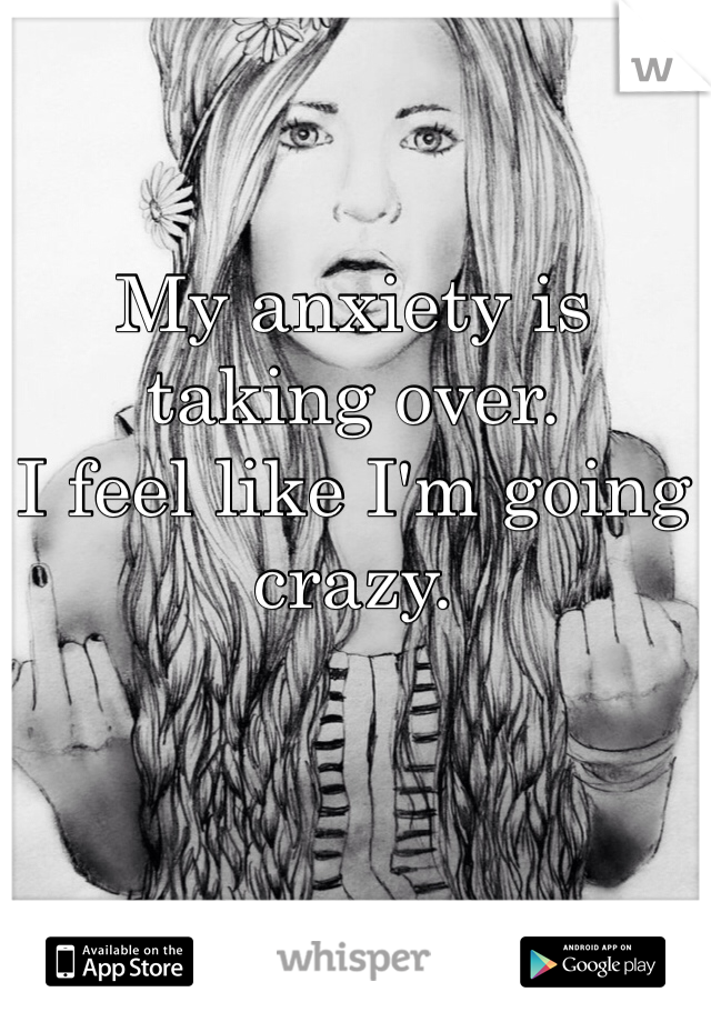 My anxiety is taking over.  I feel like I'm going crazy.