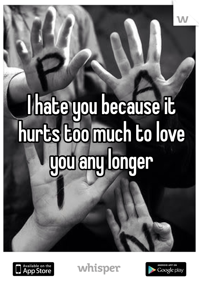 I hate you because it hurts too much to love you any longer