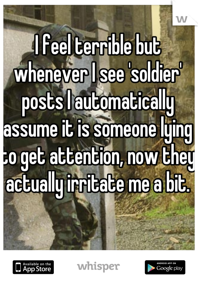 I feel terrible but whenever I see 'soldier' posts I automatically assume it is someone lying to get attention, now they actually irritate me a bit.
