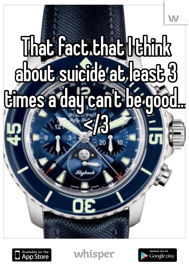 That fact that I think about suicide at least 3 times a day can't be good... </3