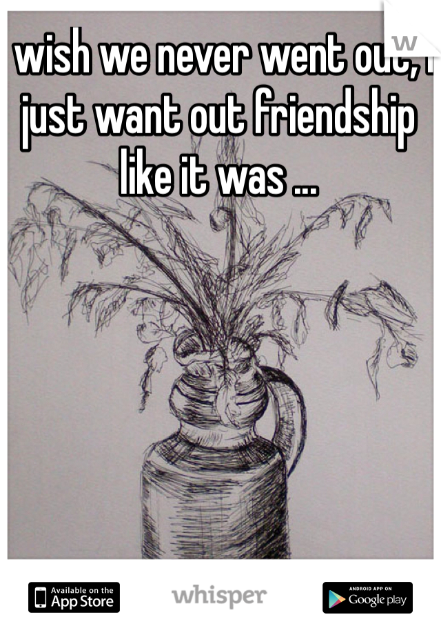 I wish we never went out, I just want out friendship like it was ...