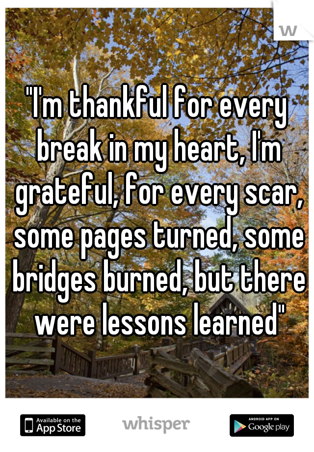 """""""I'm thankful for every break in my heart, I'm grateful, for every scar, some pages turned, some bridges burned, but there were lessons learned"""""""