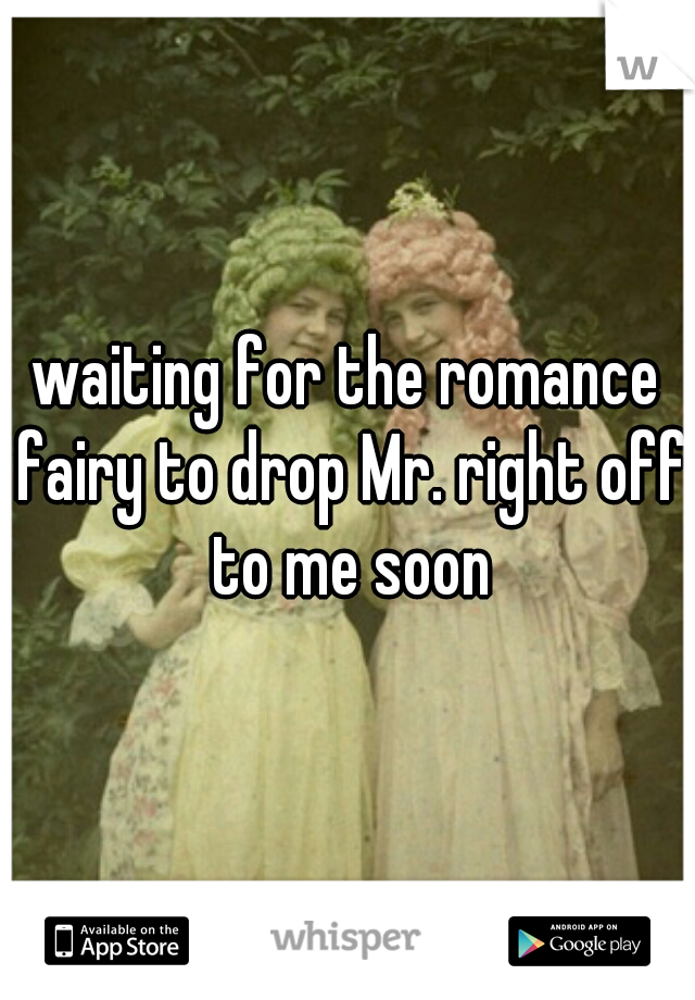 waiting for the romance fairy to drop Mr. right off to me soon