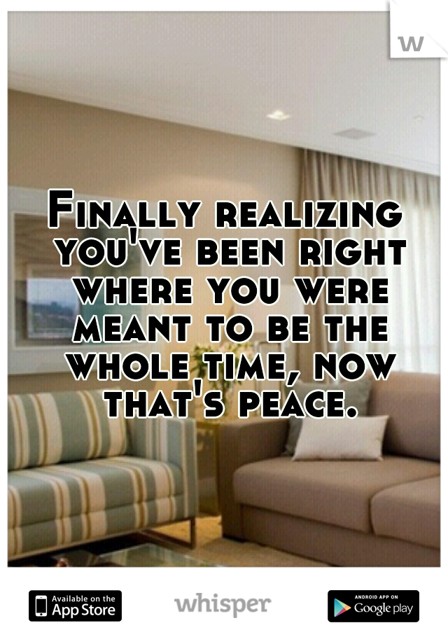 Finally realizing you've been right where you were meant to be the whole time, now that's peace.