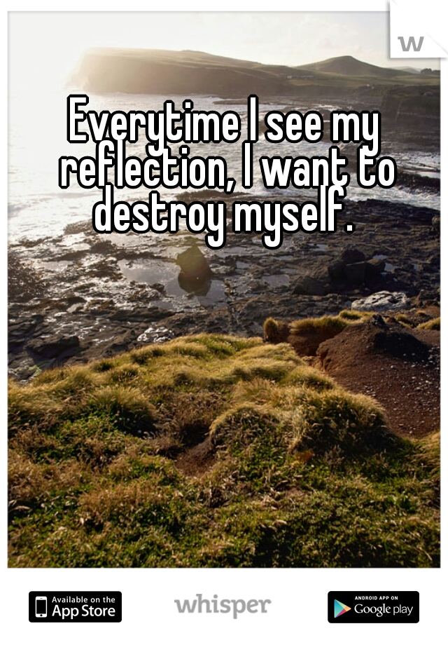 Everytime I see my reflection, I want to destroy myself.