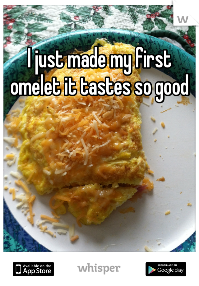 I just made my first omelet it tastes so good
